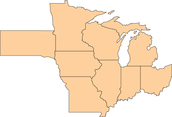 Map of Midwest Extension Offices